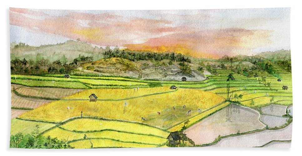 Ricefield Terrace Hand Towel featuring the painting Ricefield Terrace by Melly Terpening