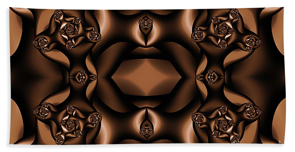 Clay Hand Towel featuring the digital art Rich Coffee Fractal Roses by Clayton Bruster