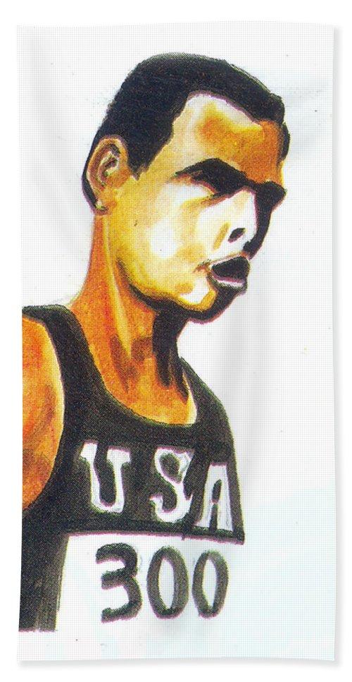 Sports Hand Towel featuring the painting Richard Fosbury by Emmanuel Baliyanga