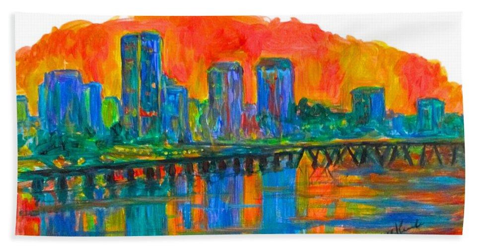 City Sunsets For Sale Hand Towel featuring the painting Richmond Gold by Kendall Kessler