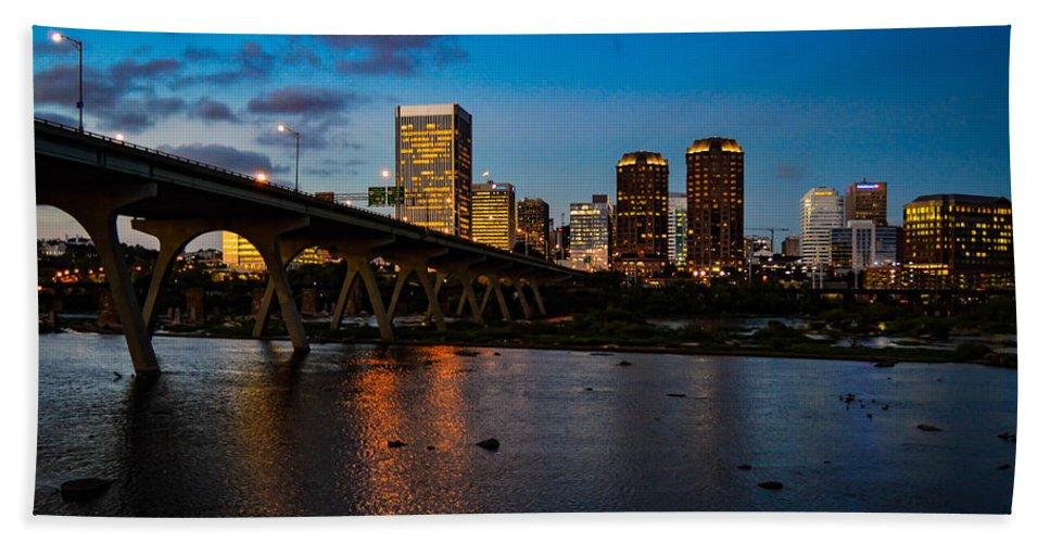 Richmond Bath Sheet featuring the photograph Richmond Skyline At Night by Aaron Dishner