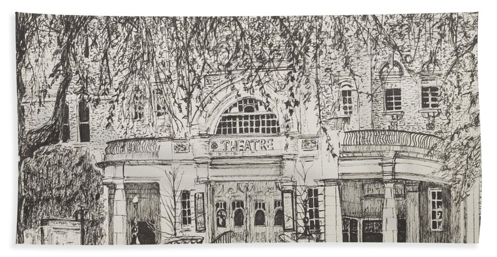 Black Bath Towel featuring the drawing Richmond Theatre London by Vincent Alexander Booth