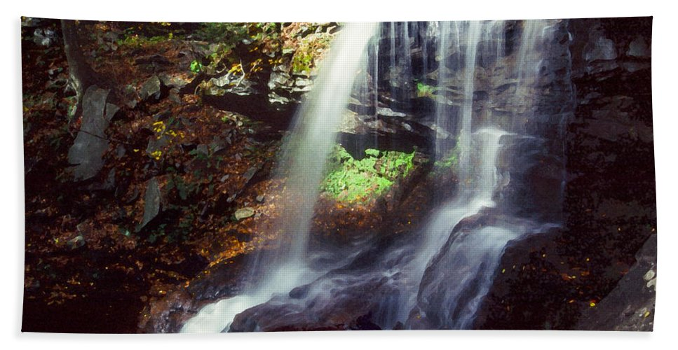 Ricketts Glen State Park Bath Towel featuring the photograph Ricketts Glen Falls 029 by Scott McAllister