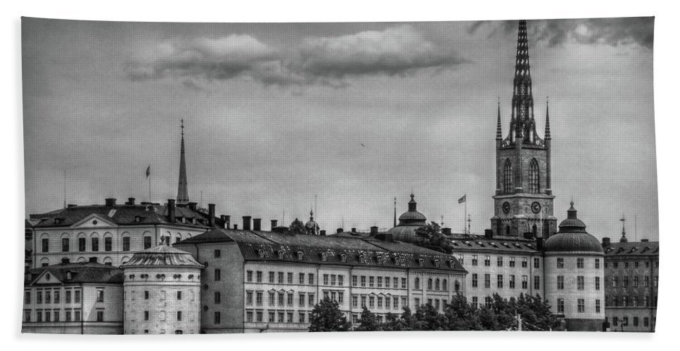 Sweden Bath Sheet featuring the photograph Riddarholmen Black And White by Hanny Heim