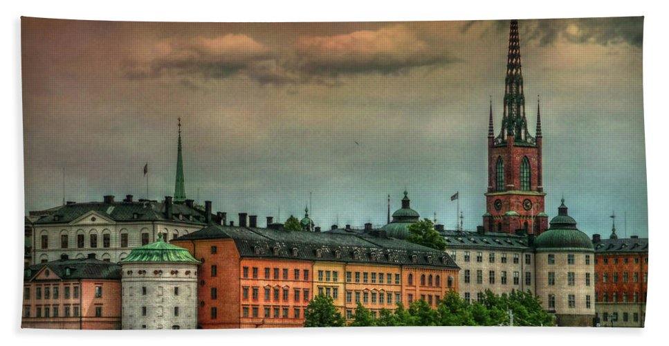 Sweden Bath Sheet featuring the photograph Riddarholmen by Hanny Heim