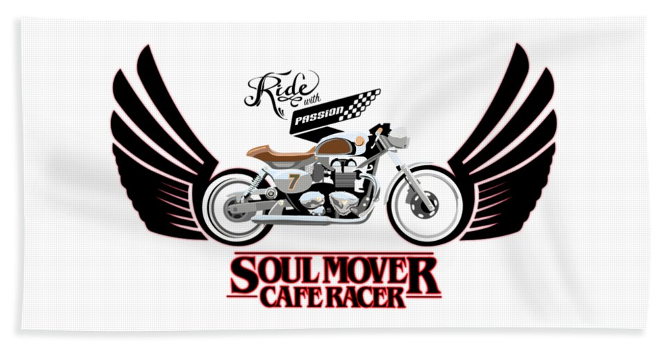 Typography Bath Towel featuring the painting Ride With Passion Cafe Racer by Sassan Filsoof
