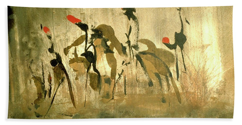 Animals Hand Towel featuring the painting Riders by Heinz Sterzenbach