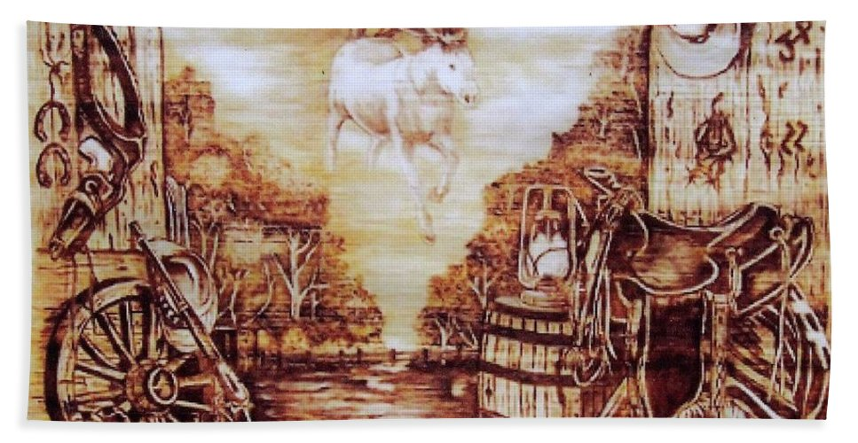 Western Hand Towel featuring the pyrography Riders In The Sky by Danette Smith
