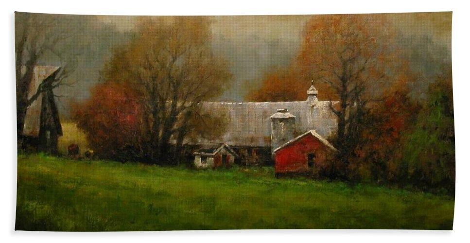 Farm Bath Towel featuring the painting Ridgefield Farm by Jim Gola