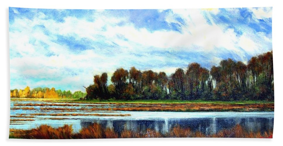 Landscapes Bath Towel featuring the painting Ridgefield Refuge Early Fall by Jim Gola