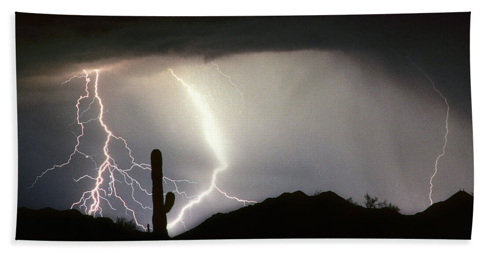 Lightning Hand Towel featuring the photograph Ridin The Southwest Desert Storm Out by James BO Insogna