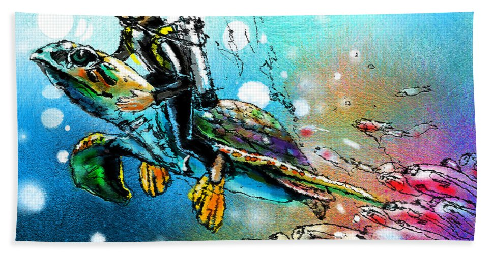 Turtle Painting Bath Sheet featuring the painting Riding A Turtle by Miki De Goodaboom