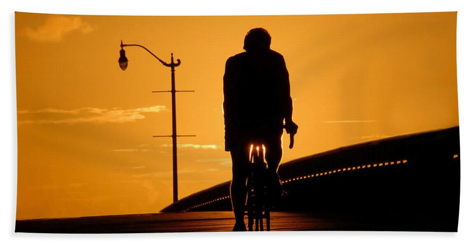 Bicycle Hand Towel featuring the photograph Riding At Sunset by David Lee Thompson