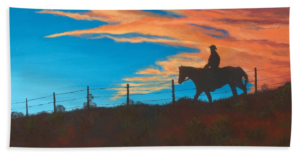 Cowboy Bath Towel featuring the painting Riding Fence by Jerry McElroy