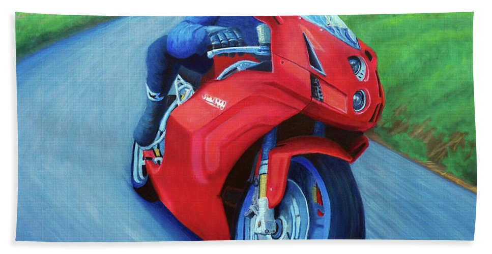 Motorcycle Bath Towel featuring the painting Riding The Highlands - Ducati 999 by Brian Commerford