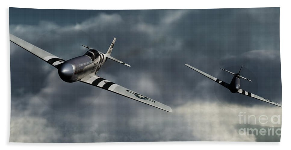 Warbirds Bath Sheet featuring the digital art Riding The Storm by Richard Rizzo