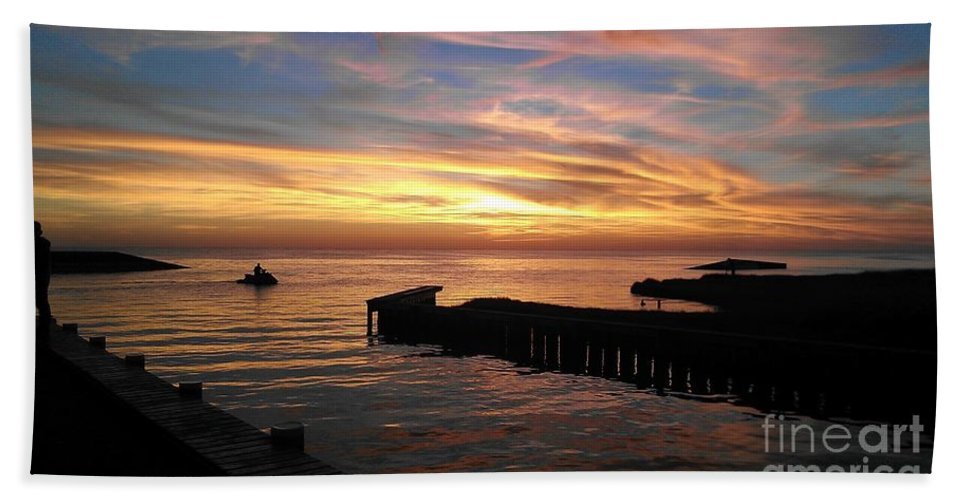 Ocean Hand Towel featuring the photograph Riding The Sunset by Hannah Johnson