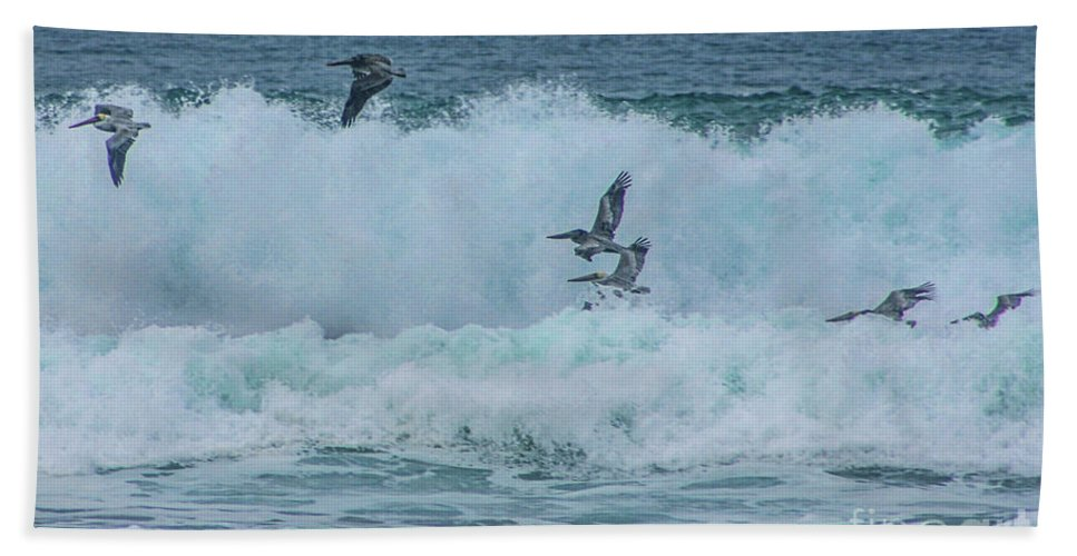 Vandenberg Hand Towel featuring the photograph Riding The Waves At Wall Beach by Tommy Anderson
