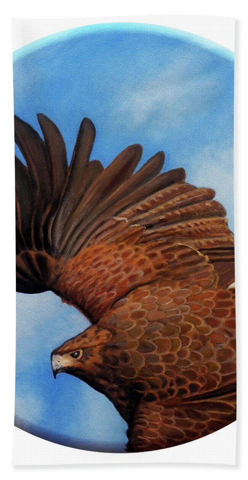 Hawk Bath Towel featuring the painting Riding The Wind by Brian Commerford