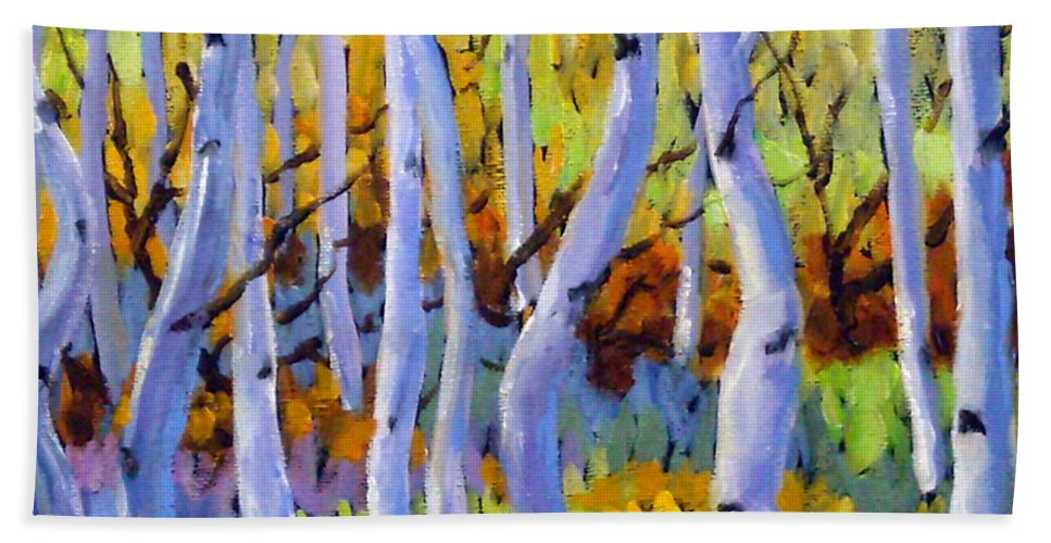Art Hand Towel featuring the painting Rigaudon Of Aspens by Richard T Pranke