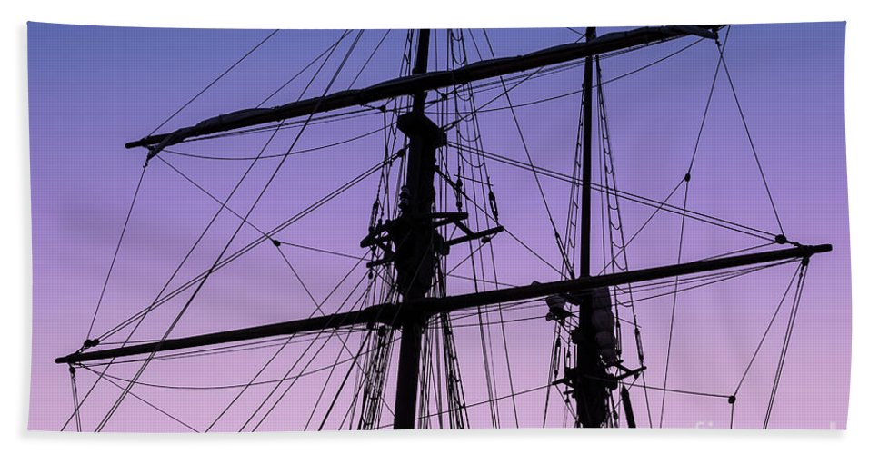 Tall Ships Hand Towel featuring the photograph Rigged And Ready by Christopher Marona