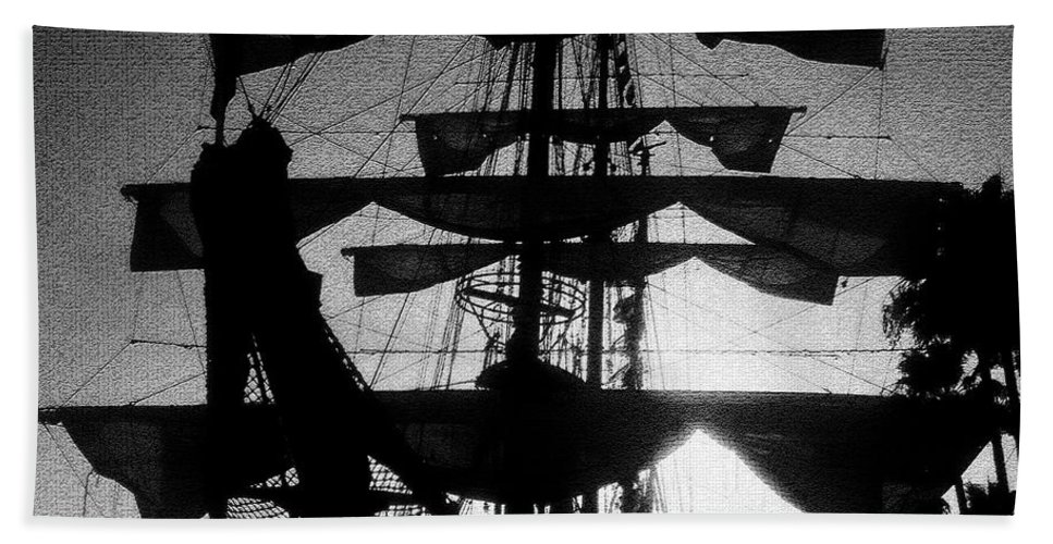 Sailing Ship Bath Towel featuring the painting Rigging and Sail by David Lee Thompson