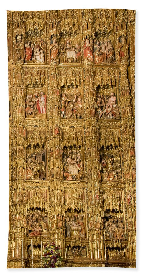 Cathedral Of Seville Bath Sheet featuring the photograph Right Half - The Golden Retablo Mayor - Cathedral Of Seville - Seville Spain by Jon Berghoff