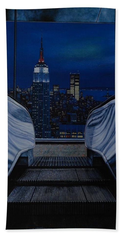 Lithograph Bath Towel featuring the photograph Right To The Top by Rob Hans