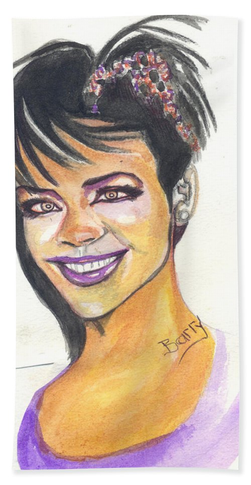 Music Hand Towel featuring the painting Rihanna by Emmanuel Baliyanga