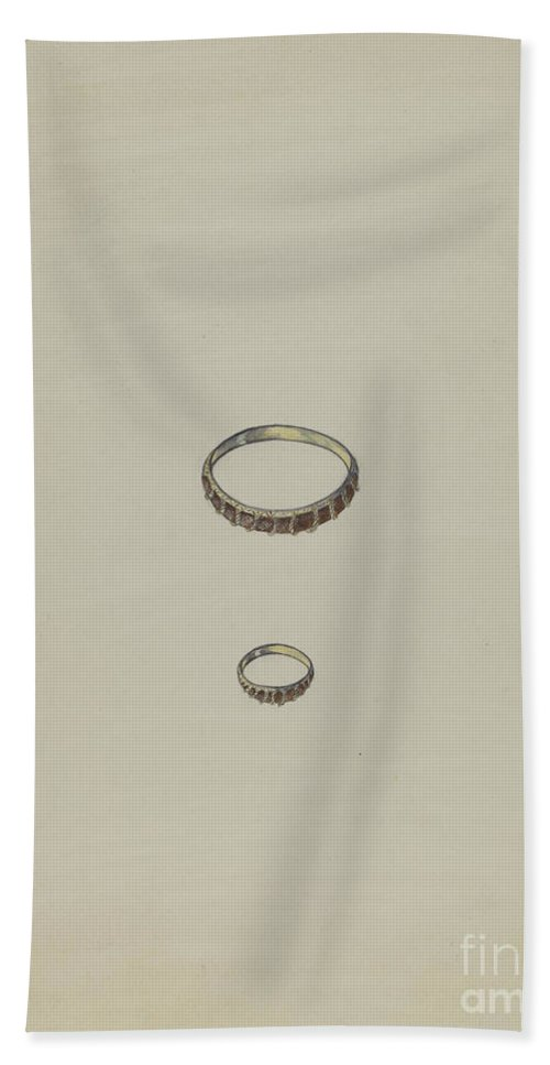 Hand Towel featuring the drawing Ring by American 20th Century
