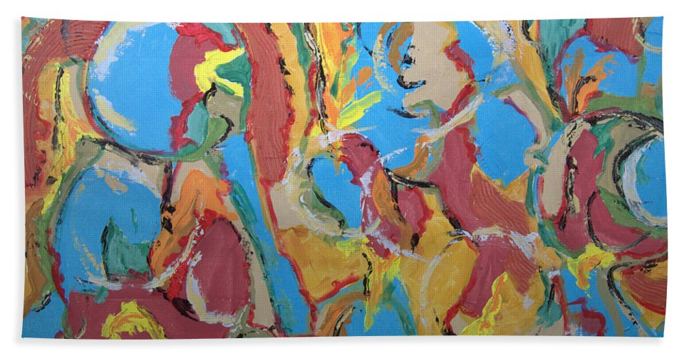 Abstract Hand Towel featuring the painting Ring Of Fire by Robert Dalton