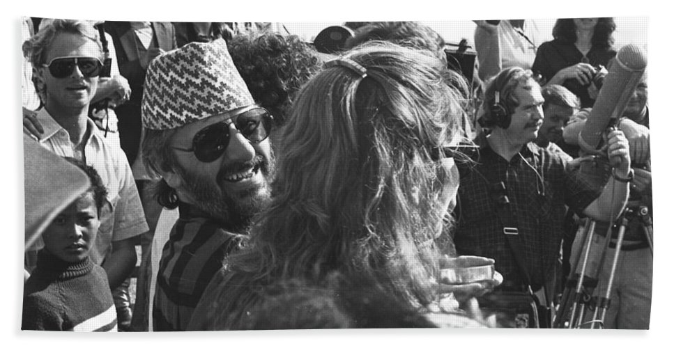 Ringo Bath Sheet featuring the photograph Ringo Starr In Nepal by Omar Shafey