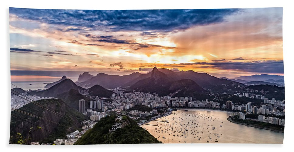 Outdoor Bath Sheet featuring the photograph Rio De Janeiro Sunset by Desiree Silva
