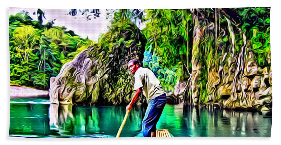 Rafting Hand Towel featuring the digital art Rio Grande by Anthony C Chen
