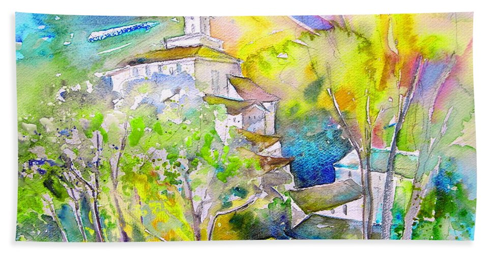 Watercolour Travel Painting Of A Village In La Rioja Spain Hand Towel featuring the painting Rioja Spain 04 by Miki De Goodaboom