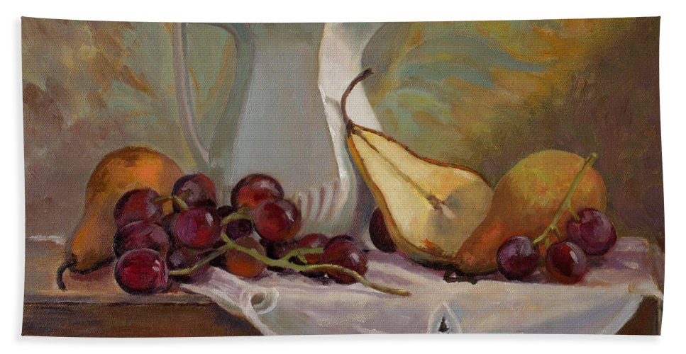 Still Bath Sheet featuring the painting Ripening Pears With Grapes by Keith Burgess