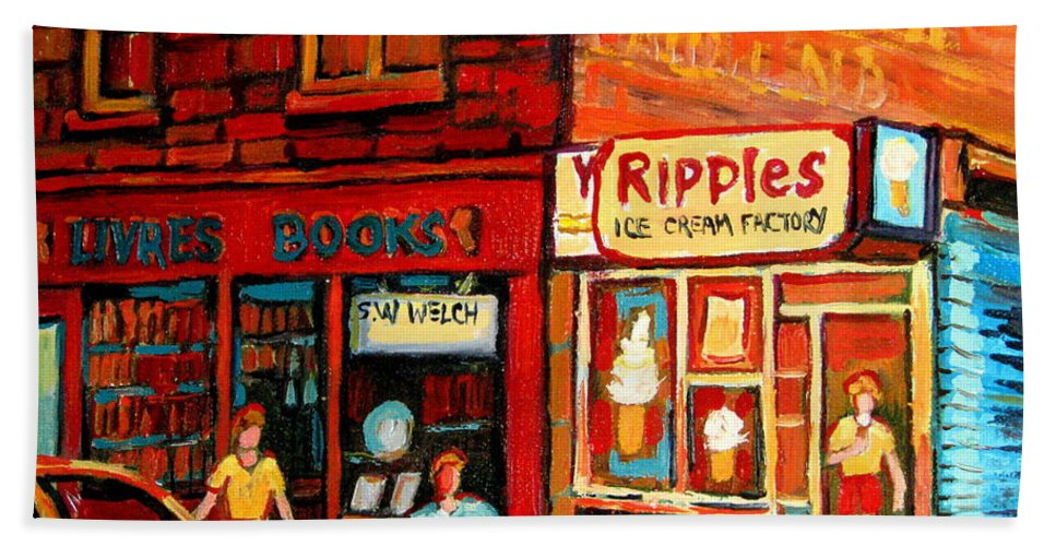 Ripples Icecream Factory Hand Towel featuring the painting Ripples Ice Cream Factory by Carole Spandau