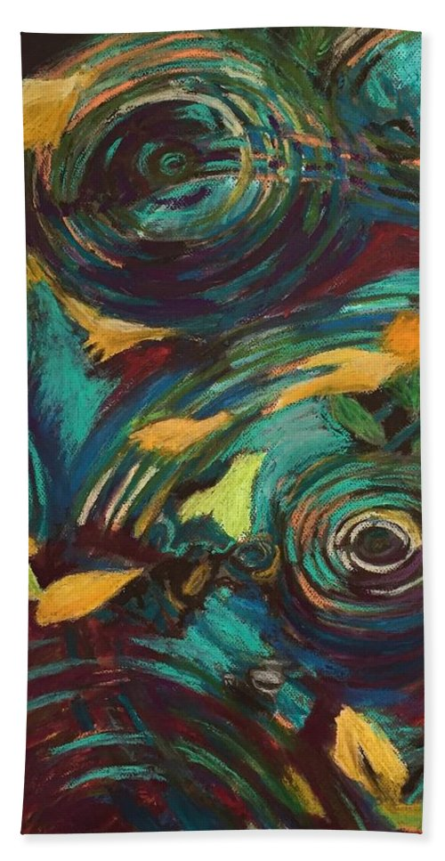Oil Pastels Bath Sheet featuring the pastel Ripples in Time by Art Nomad Sandra Hansen