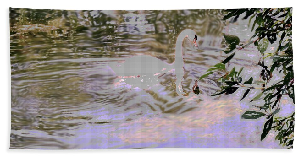 Swan Hand Towel featuring the photograph Ripples Subdued by Ian MacDonald