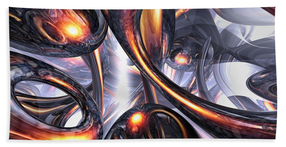 3d Hand Towel featuring the digital art Rippling Fantasy Abstract by Alexander Butler