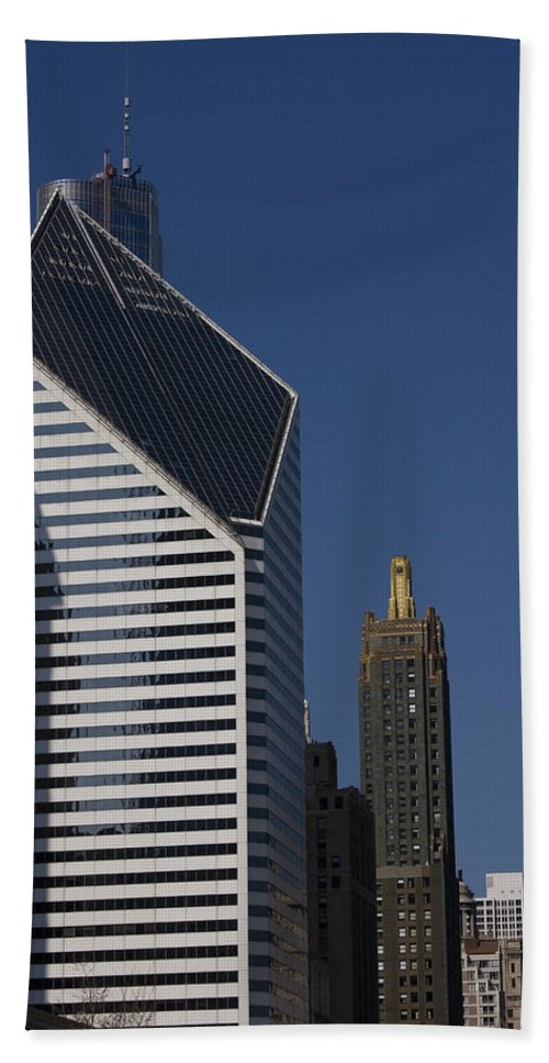 Chicago Windy City Blue Sky Building Skyscraper Metro Urban Tall High Big Hand Towel featuring the photograph Rising High by Andrei Shliakhau