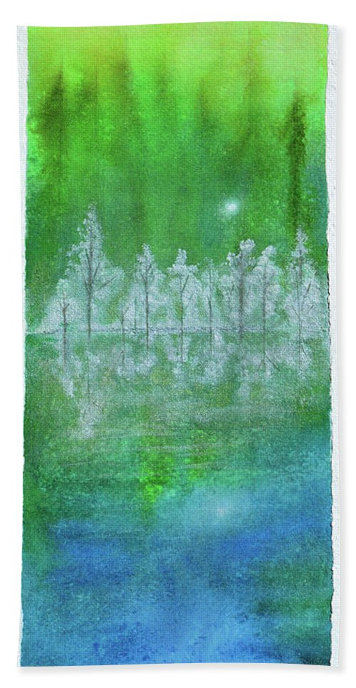 Abstract Landscape Bath Towel featuring the painting Rising Mist by Donna Blackhall