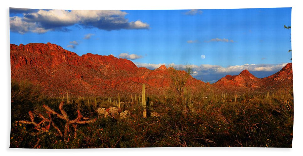 Rising Moon Hand Towel featuring the photograph Rising Moon In Arizona by Susanne Van Hulst