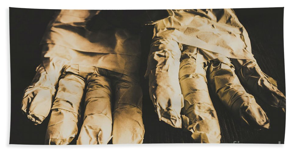 Nightmare Hand Towel featuring the photograph Rising Mummy Hands In Bandage by Jorgo Photography - Wall Art Gallery