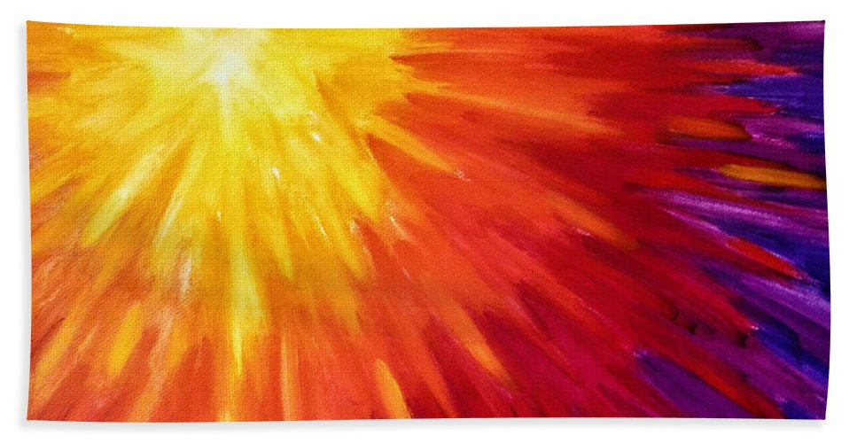Sun Hand Towel featuring the painting Rising Sun by Brena Patchen