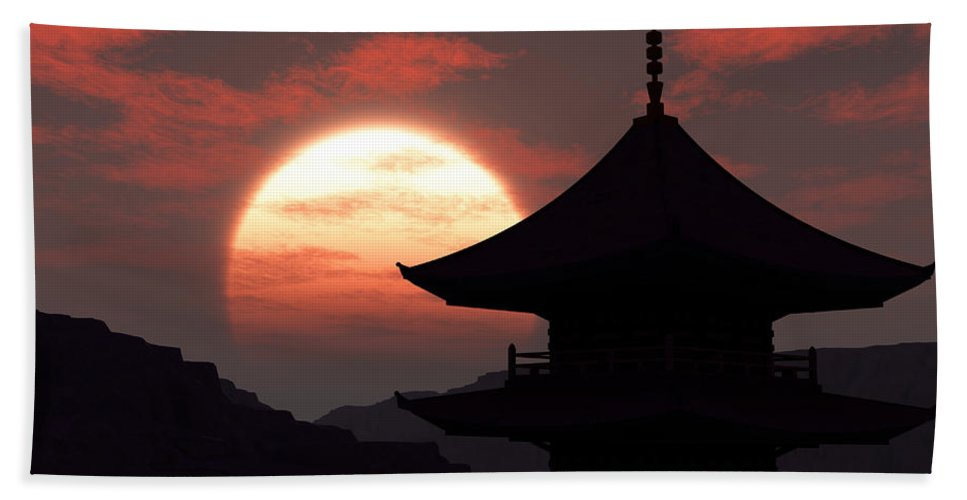 Oriental Hand Towel featuring the digital art Rising Sun by Richard Rizzo