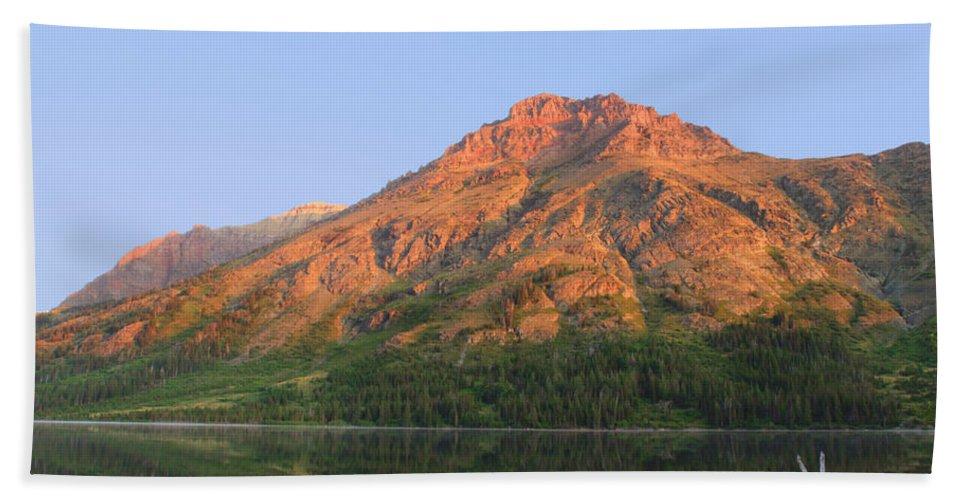 Mountain Hand Towel featuring the photograph Rising Wolf Mountain At Dawn by Shari Jardina