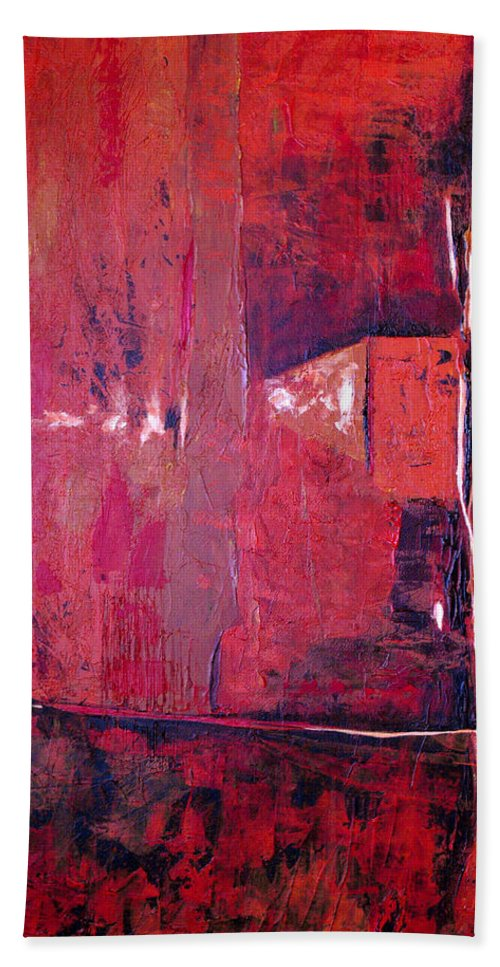 Abstract Bath Sheet featuring the painting Risky Business by Ruth Palmer