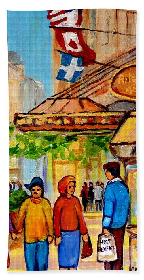 Montreal Ritz Carlton Bath Sheet featuring the painting Ritz Carlton Montreal Sherbrooke Street by Carole Spandau