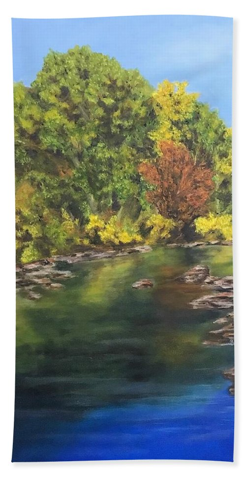 Fall Bath Sheet featuring the painting River At Hidden Acres 1. by Kathy Spadaro